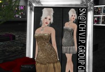 Shimmering Mesh Stella Dress (Gold/Silver) Group Gift by Sn@tch - Teleport Hub - teleporthub.com