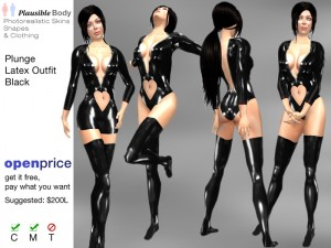 Plunge Black Latex Zipper Heart Outfit (6 Styles) by Plausible - Teleport Hub - teleporthub.com