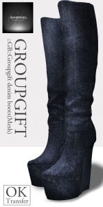 Mesh Denim Boots Group Gift by Gabriel - Teleport Hub - teleporthub.com