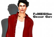 Kauna Mesh Open Shirt Crimson Silk Group Gift by FaMESHED - Teleport Hub - teleporthub.com