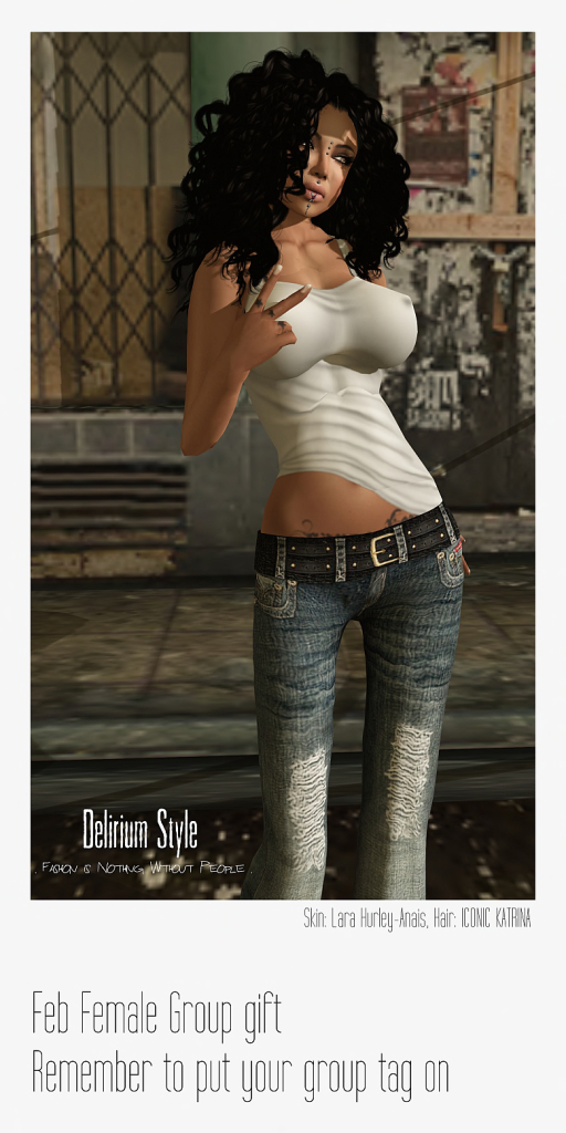 White Tank Top and Jean Feb '13 Group Gift by Delirium Style - Teleport Hub - teleporthub.com