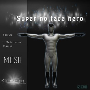 Mesh Super No Face Hero Avatar by Creative Labs - Teleport Hub - teleporthub.com