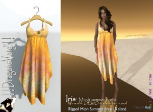Iris Mesh Summer Orange Dress Wearable Demo Promo by DragansVarg - Teleport Hub - teleporthub.com