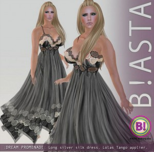 Dream Promenade Long Silver Silk Dress April 2013 Group Gift by B!ASTA - Teleport Hub - teleporthub.com