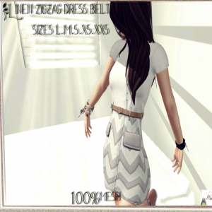 Linen Zigzag Dress With Belt  April 2013 Group Gift by [[>Cake!<]] - Teleport Hub - teleporthub.com