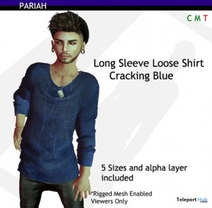 Long Sleeve Loose Shirt Cracking Blue by PARIAH - Teleport Hub - teleporthub.com