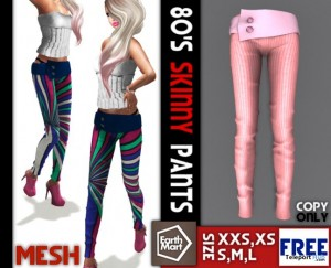 Mesh 80's Skinny Pants by Earth Mart - Teleport Hub - teleporthub.com