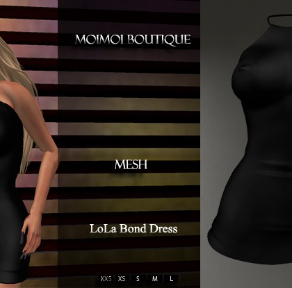 Mesh Bond Black Dress by MoiMoi - Teleport Hub - teleporthub.com