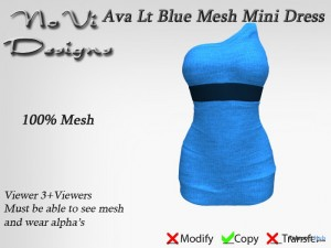 Ava Light Blue Mini Dress by NoVi Designs - Teleport Hub - teleporthub.com
