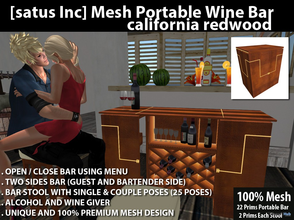 Mesh Portable Wine Bar California Redwood by [satus Inc] - Teleport Hub - teleporthub.com