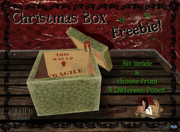 Chirstmas Box with Sit Inside Poses - Teleport Hub - teleporthub.com