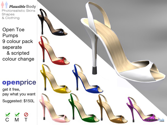 Open Toe High Heel Pumps (9 Colors Fatpack) by Plausible Body - Teleport Hub - teleporthub.com