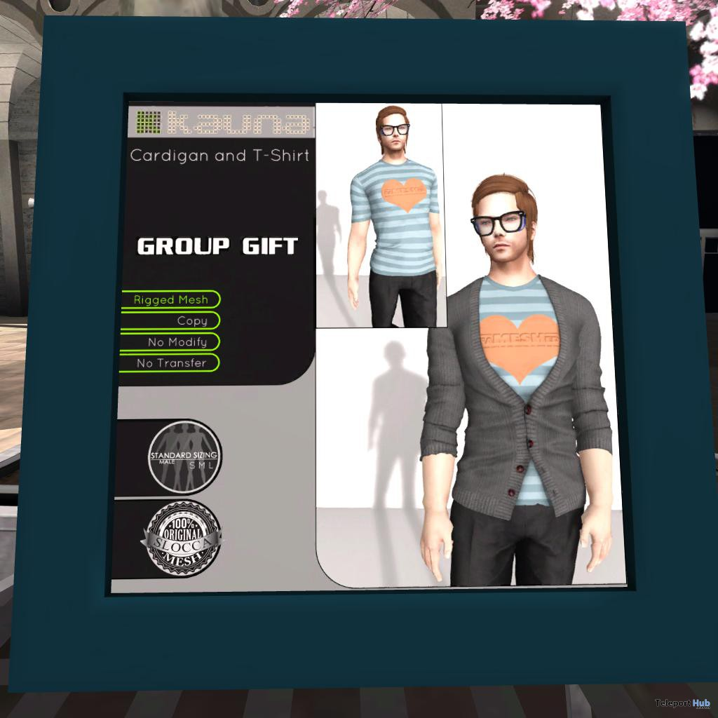 Male Cardigan and T-Shirt FaMESHed Group Gift by kauna - Teleport Hub - teleporthub.com