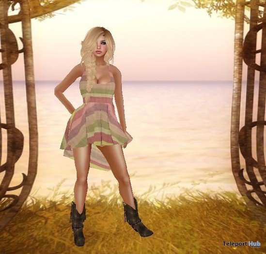 Chrissy Dress Pink Stripe 1L Promo by Rainbow Rose - Teleport Hub - teleporthub.com