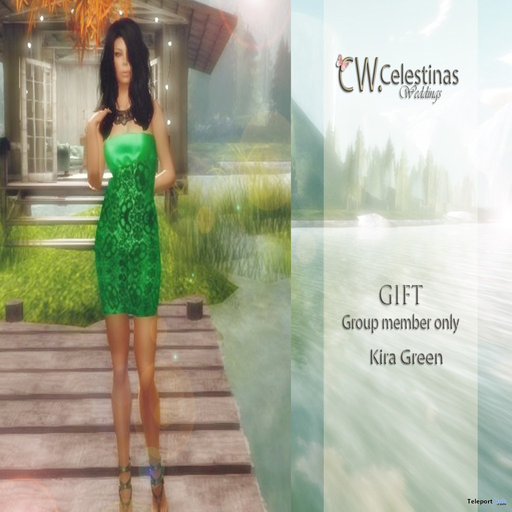 Kira Green Dress Group Gift by CW (Celestinas Wedding) - Teleport Hub - teleporthub.com
