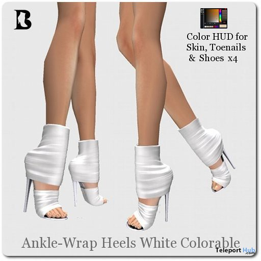 Ankle-Wrap Stilettos White Colorable by Vlad Blackburn - Teleport Hub - teleporthub.com