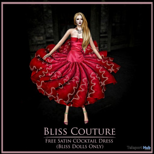 Satin Cocktail Dress Red Group Gift by Bliss Couture - Teleport Hub - teleporthub.com