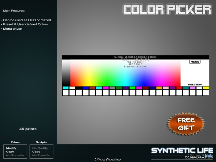 Color Picker HUD For Builder by SLC - Teleport Hub - teleporthub.com