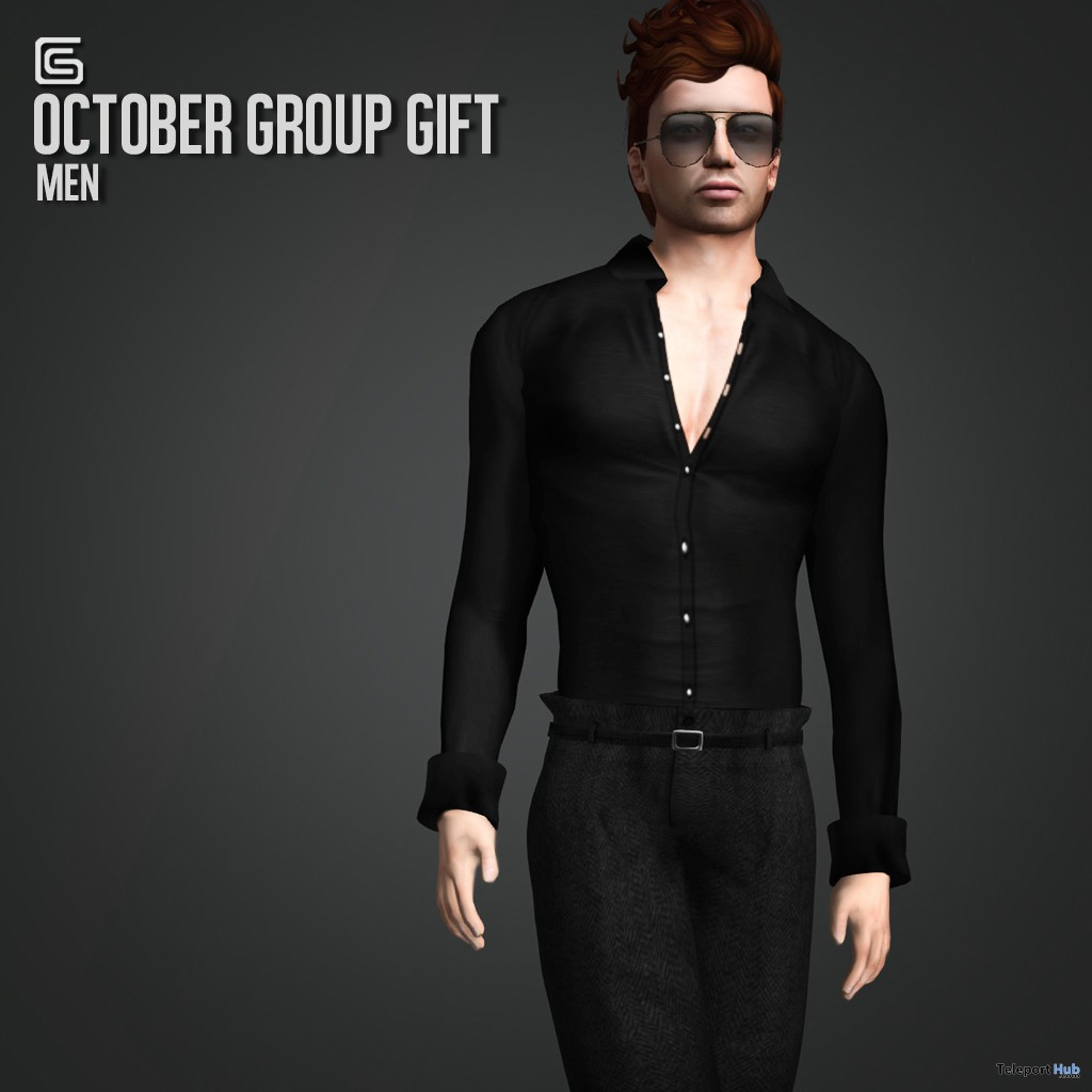 Mesh Black Shirt and Pant October 2013 Group Gift by Gizza Creations - Teleport Hub - teleporthub.com