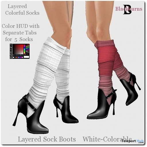 Blackburns Layered Sock Boots White Colorable by Vlad Blackburn - Teleport Hub - teleporthub.com