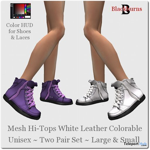 Mesh Hi-Tops White Leather Colorable by Vlad Blackburn - Teleport Hub - teleporthub.com