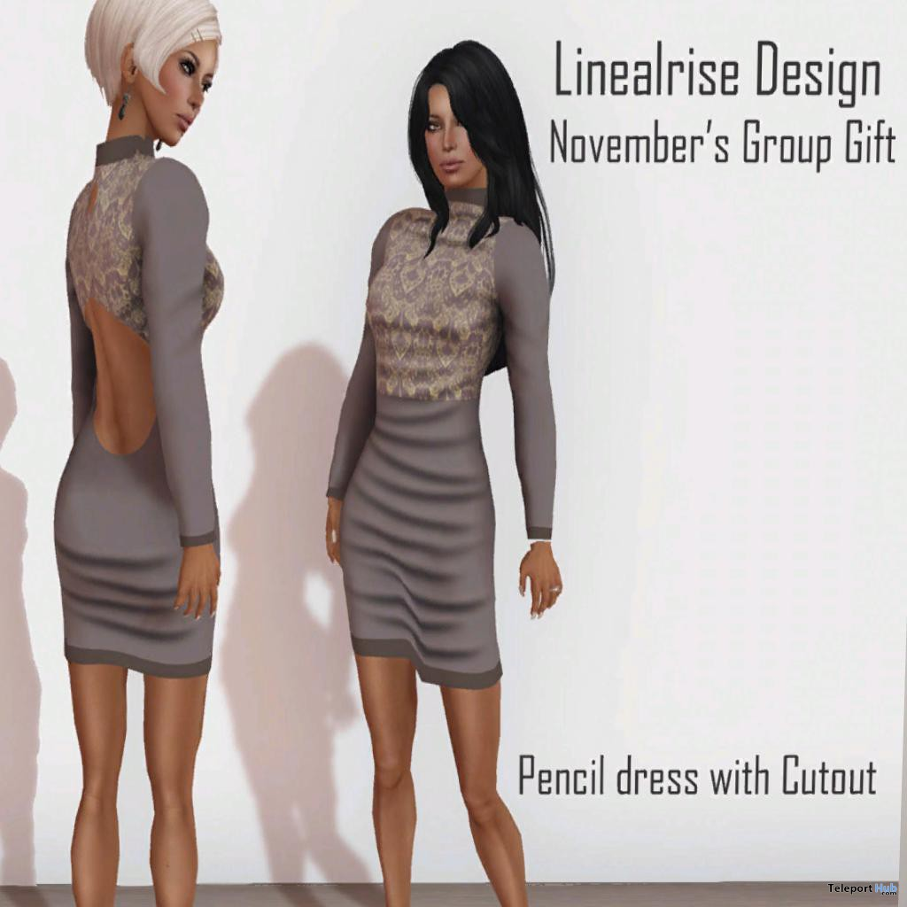 Pencil Dress With Cutout November 2013 Group Gift by Linealrise Design - Teleport Hub - teleporthub.com