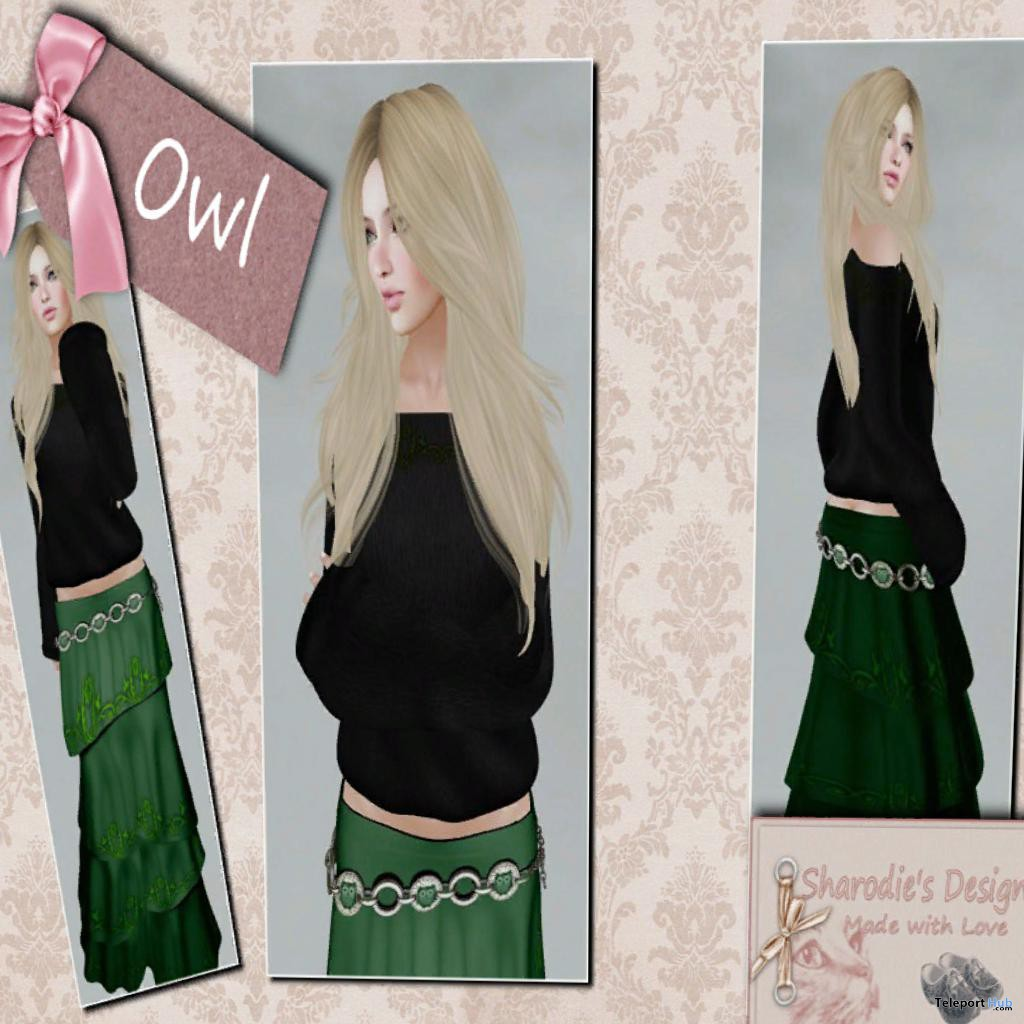 Owl Outfit Hippie Skirt and Shoulder Sweater Group Gift by Sharodie's Design - Teleport Hub - teleporthub.com