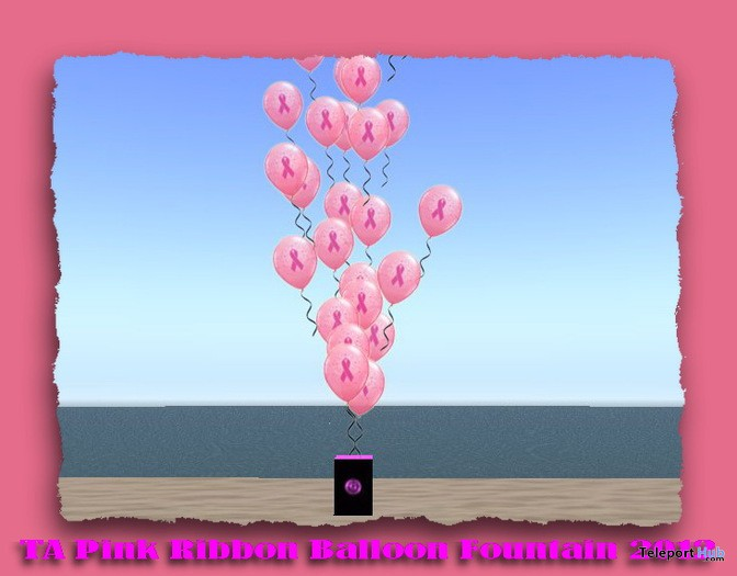 Pink Ribbon Balloon Fountain by TA - Teleport Hub - teleporthub.com