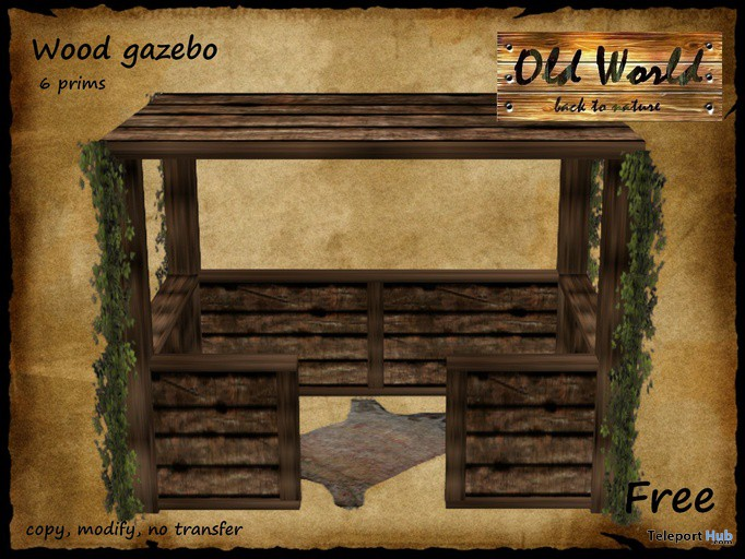 Medieval Rustic Wood Gezabo by Old World - Teleport Hub - teleporthub.com