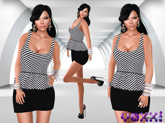 Peplum Mesh Dress Black by voxxi - Teleport Hub - teleporthub.com