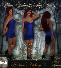 Blue Cocktails Mesh Slip Dress Group Gift by HUDSON Clothing Co - Teleport Hub - teleporthub.com
