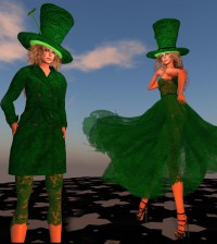 Dress and Limerick Kelly Green Spring Coat Group Gift PARIS Metro Couture - Teleport Hub - teleporthub.com