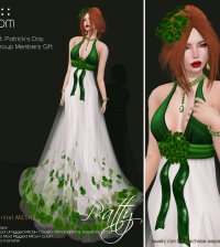 St. Patrick's Day Patty Gown in White Green Group Gift by PurpleMoon - Teleport Hub - teleporthub.com