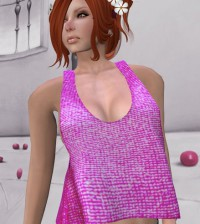 Mesh Tshirt Top Light Pink by Candy Mesh - Teleport Hub - teleporthub.com
