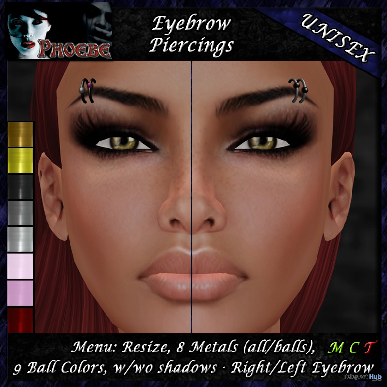 Unisex Eyebrow Piercing A1 8 Metals/9 Colors by Phoebe ~Piercings & more~ - Teleport Hub - teleporthub.com