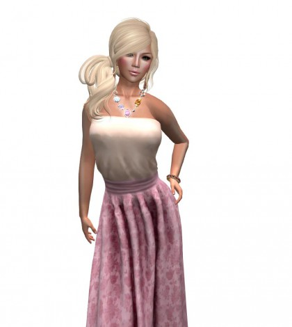 Fleur de printemps Top and Long Skirt Subscribo Gift by PARADISIS - Teleport Hub - teleporthub.com