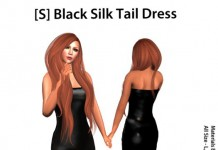[S] Black Silk Tail Dress Teleport Hub Group Gift by [satus Inc] - Teleport Hub - teleporthub.com