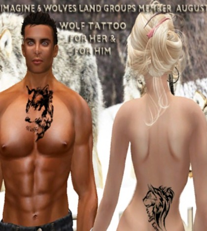 Wolf Tattoos August 2014 Group Gift by Just Imagine and Wolves Land - Teleport Hub - teleporthub.com