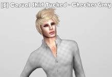 [S] Casual Shirt Tucked Checker Gray Teleport Hub Group Gift by [satus Inc] - Teleport Hub - teleporthub.com