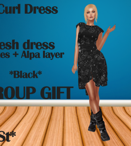 Curl Dress Black Group Gift by MoSt - Teleport Hub - teleporthub.com