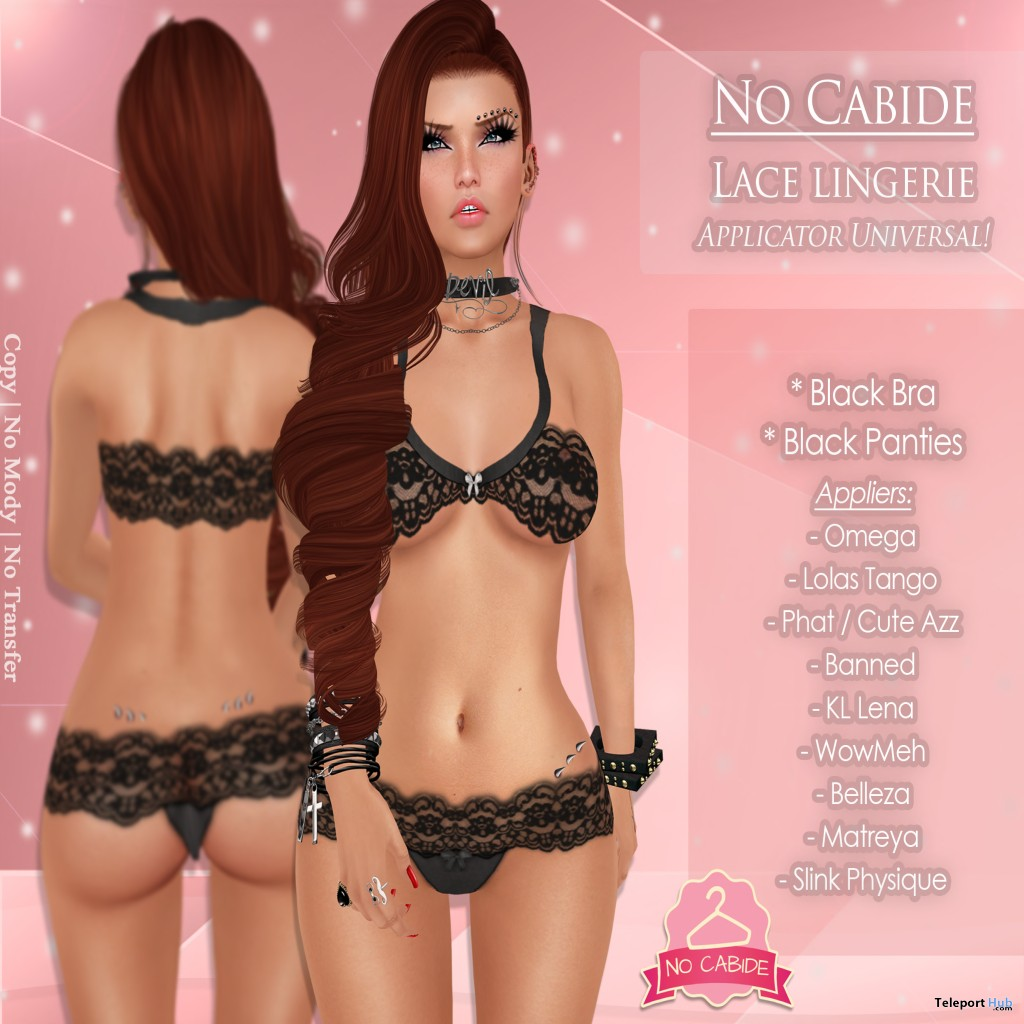 Lace Lingerie Black with Mesh Body Appliers by No Cabide - Teleport Hub -  teleporthub. c786476e3b