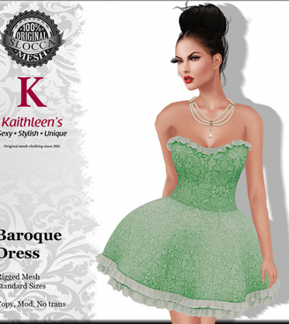 Baroque Dress Green Group Gift by Kaithleen's - Teleport Hub - teleporthub.com