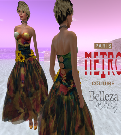 Sunflower Day Dress with Belleza Applier by Paris METRO Couture - Teleport Hub - teleporthub.com