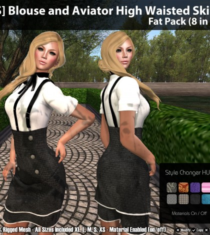Blouse and Aviator High Waisted Skirt Fat Pack (8 in 1) Group Gift by [satus Inc] - Teleport Hub - teleporthub.com