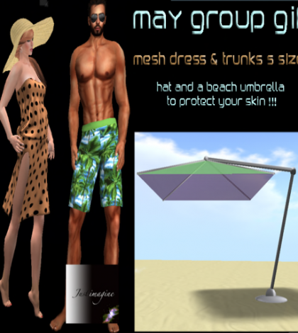 Mesh Dress For Women and Trunks for Men May 2015 Group Gift by Just Imagine and Wolves Land - Teleport Hub - teleporthub.com