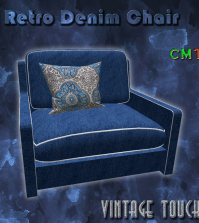 Retro Denim Easy Chair May 2015 Group Gift by The Vintage Touch - Teleport Hub - teleporthub.com