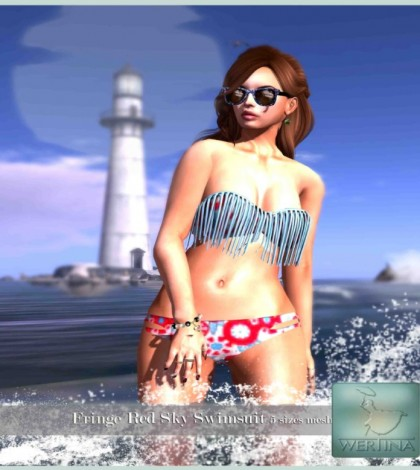 Fringe Red Sky Swimwear Group Gift by WERTINA - Teleport Hub - teleporthub.com