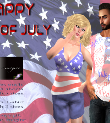July 4th Ladies Outfit & Gents Shirt July 2015 Group Gift by Just Imagine - Teleport Hub - teleporthub.com