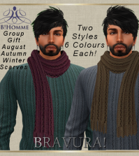 Scarves Autumn Winter August 2015 Group Gift by B!Homme - Teleport Hub - teleporthub.com