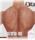 Scar Back Tattoo with Mesh Body Applier Group Gift by Dita Couture - Teleport Hub - teleporthub.com